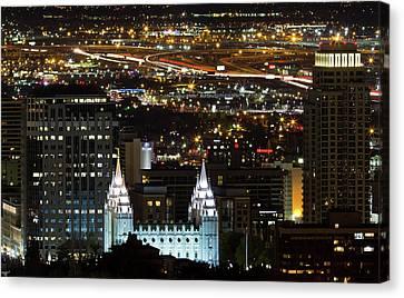 Salt Lake Temple Canvas Print by Photo by Jim Boud