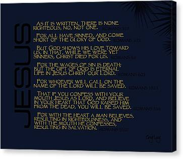 Bible Verse Canvas Print - Salvation by Greg Long