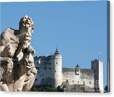 Salzburg Castle Seen From Mirabell Palace Gardens Canvas Print