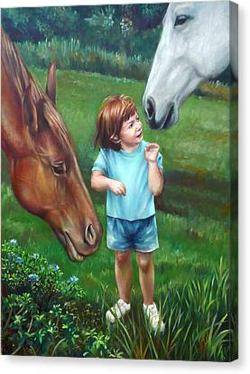 Canvas Print featuring the painting Samantha Becomes An Equestrian by Nancy Tilles