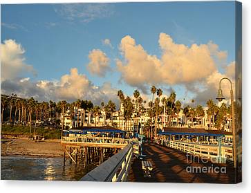 San Clement Pier And Coast Canvas Print by Timothy OLeary