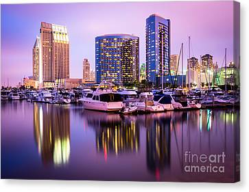 San Diego At Night With Marina Yachts Canvas Print by Paul Velgos