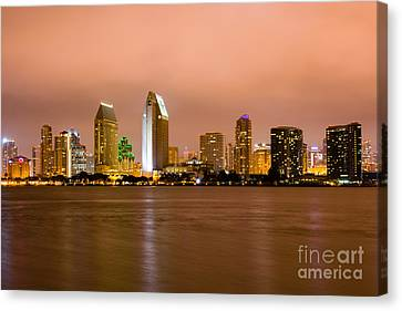 San Diego Skyline At Night Canvas Print by Paul Velgos