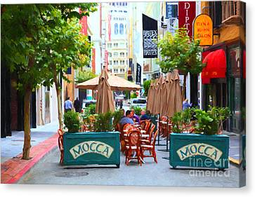 San Francisco - Maiden Lane - Outdoor Lunch At Mocca Cafe - 5d17932 - Painterly Canvas Print by Wingsdomain Art and Photography