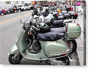 San Francisco - Scooters And Motorcycles Along Sansome Street - 5d17654 Canvas Print by Wingsdomain Art and Photography