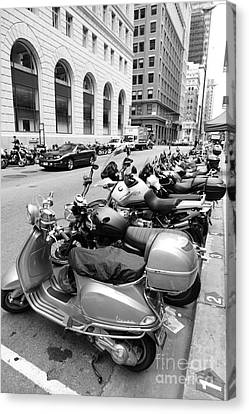 San Francisco - Scooters And Motorcycles Along Sansome Street - 5d17657 - Black And White Canvas Print by Wingsdomain Art and Photography