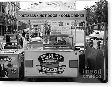 San Francisco - Stanley's Steamers Hot Dog Stand - 5d17929 - Black And White Canvas Print by Wingsdomain Art and Photography