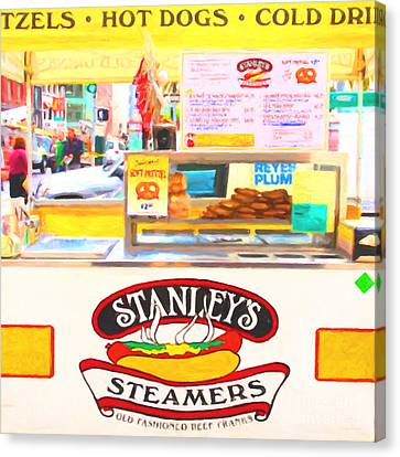 San Francisco - Stanley's Steamers Hot Dog Stand - 5d17929 - Square - Painterly Canvas Print by Wingsdomain Art and Photography
