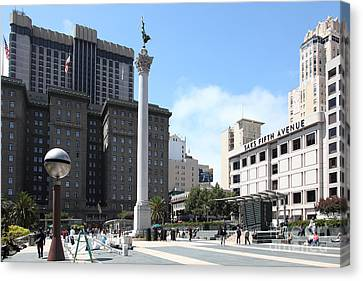 San Francisco - Union Square - 5d17933 Canvas Print by Wingsdomain Art and Photography