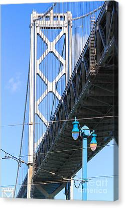 San Francisco Bay Bridge At The Embarcadero . 7d7755 Canvas Print by Wingsdomain Art and Photography