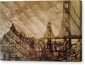 Alcatraz Canvas Print - San Francisco Bridge Sketch by Unique Consignment