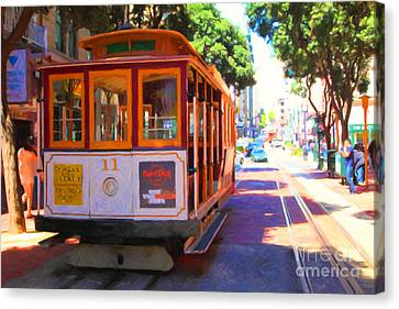 San Francisco Cable Car At The Powell Street Cable Car Turnaround - 5d17962 - Painterly Canvas Print by Wingsdomain Art and Photography