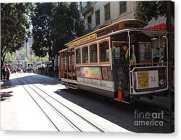 San Francisco Cable Car At The Powell Street Cable Car Turnaround - 5d17963 Canvas Print by Wingsdomain Art and Photography