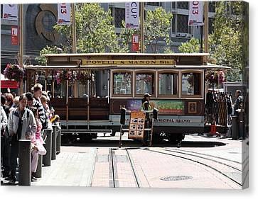 San Francisco Cable Car At The Powell Street Cable Car Turnaround - 5d17968 Canvas Print by Wingsdomain Art and Photography