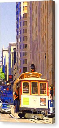San Francisco Cable Car Coming Down Powell Street Canvas Print by Wingsdomain Art and Photography