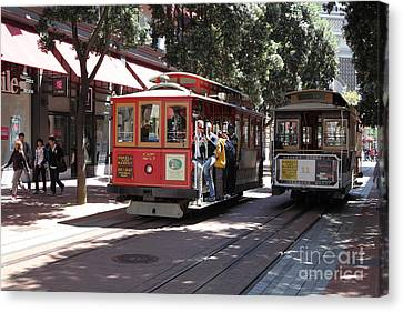 San Francisco Cable Cars At The Powell Street Cable Car Turnaround - 5d17959 Canvas Print by Wingsdomain Art and Photography