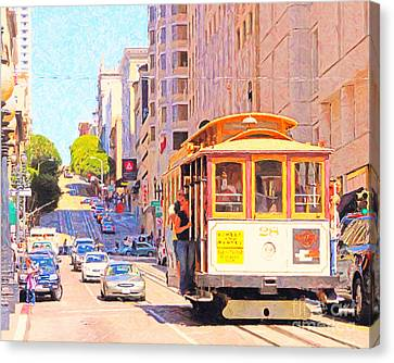 San Francisco Cablecar Coming Down Powell Street Canvas Print by Wingsdomain Art and Photography