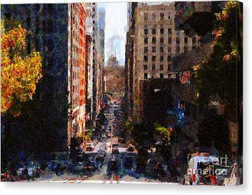 San Francisco California Street  . Painterly . 7d7186 Canvas Print by Wingsdomain Art and Photography