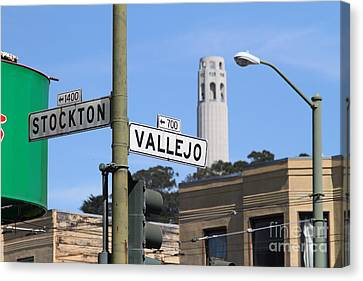 San Francisco Coit Tower Through Stockton And Vallejo Streets Canvas Print by Wingsdomain Art and Photography