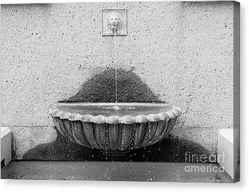 San Francisco Crocker Galleria Roof Garden Fountain - 5d17894 - Black And White Canvas Print by Wingsdomain Art and Photography