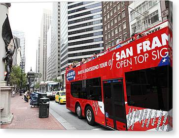 San Francisco Double Decker Tour Bus On Market Street - 5d17844 Canvas Print by Wingsdomain Art and Photography