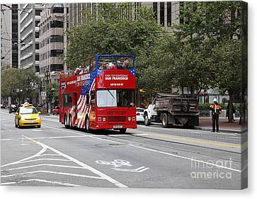 San Francisco Double Decker Tour Bus On Market Street - 5d17851 Canvas Print by Wingsdomain Art and Photography