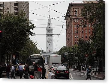 Crosswalk Canvas Print - San Francisco Ferry Building At End Of Market Street - 5d17865 by Wingsdomain Art and Photography
