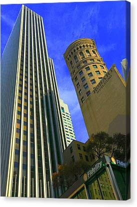Canvas Print featuring the photograph San Francisco Financial District by Linda Edgecomb