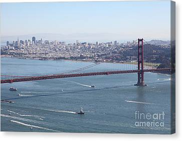 San Francisco Golden Gate Bridge And Skyline Viewed From Hawk Hill In Marin - 5d19605 Canvas Print by Wingsdomain Art and Photography