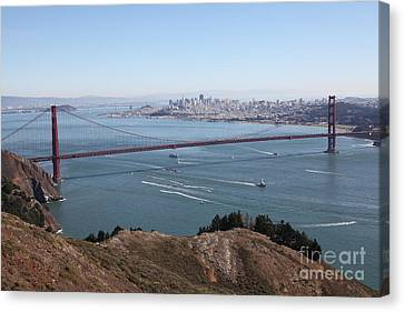 San Francisco Golden Gate Bridge And Skyline Viewed From Hawk Hill In Marin - 5d19606 Canvas Print by Wingsdomain Art and Photography