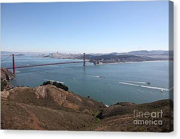 San Francisco Golden Gate Bridge And Skyline Viewed From Hawk Hill In Marin - 5d19614 Canvas Print by Wingsdomain Art and Photography