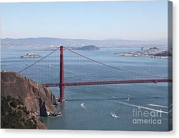 San Francisco Golden Gate Bridge And Skyline Viewed From Hawk Hill In Marin - 5d19628 Canvas Print by Wingsdomain Art and Photography