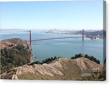 San Francisco Golden Gate Bridge And Skyline Viewed From Hawk Hill In Marin - 5d19637 Canvas Print by Wingsdomain Art and Photography