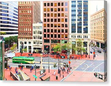 San Francisco Market Street - 5d17877 - Painterly Canvas Print by Wingsdomain Art and Photography