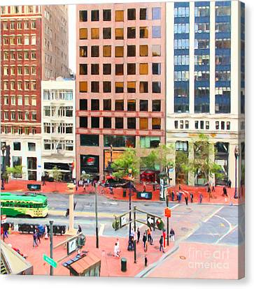 San Francisco Market Street - 5d17877 - Square - Painterly Canvas Print by Wingsdomain Art and Photography