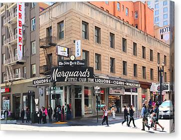 San Francisco Marquards Little Cigar Store On Powell Street - 5d17950 - Painterly Canvas Print by Wingsdomain Art and Photography