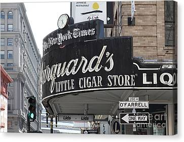 Crosswalk Canvas Print - San Francisco Marquard's Little Cigar Store Powell And O'farrell Streets - 5d17954 by Wingsdomain Art and Photography