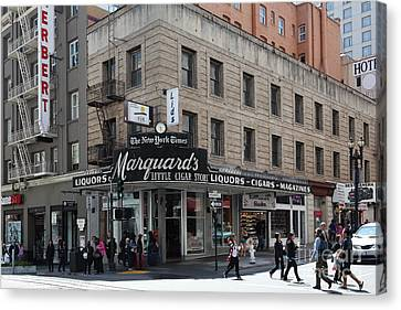Crosswalk Canvas Print - San Francisco Marquards Little Cigar Store Powell Street - 5d17950 by Wingsdomain Art and Photography
