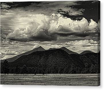 Hopi Canvas Print - San Francisco Peaks In Black And White by Joshua House