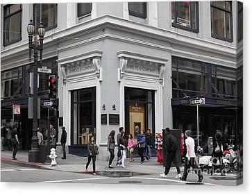 Crosswalk Canvas Print - San Francisco Shreve And Company On Grant Street - 5d17920 by Wingsdomain Art and Photography