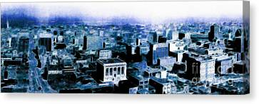 San Francisco Skyline Panorama 1909 From The Ferry Building Through South Of Market . Blue Canvas Print by Wingsdomain Art and Photography