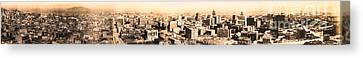 San Francisco Skyline Panorama 1909 From The Ferry Building Through South Of Market Canvas Print by Wingsdomain Art and Photography