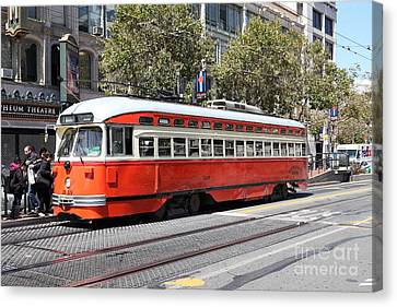 San Francisco Streetcar At The Orpheum Theatre - 5d17999 Canvas Print by Wingsdomain Art and Photography