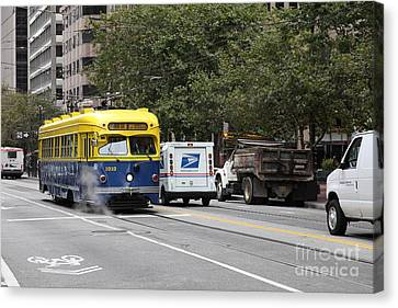 San Francisco Vintage Streetcar On Market Street - 5d17849 Canvas Print by Wingsdomain Art and Photography