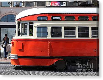San Francisco Vintage Streetcar On Market Street - 5d18001 Canvas Print by Wingsdomain Art and Photography