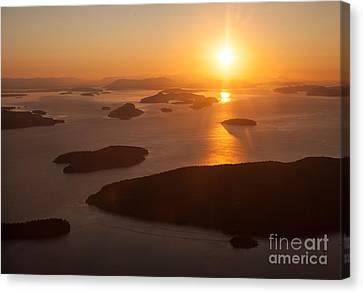 San Juan Islands Sunset Evening Canvas Print by Mike Reid