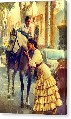 San Miguel Fair In Torremolinos Canvas Print by Jenny Rainbow