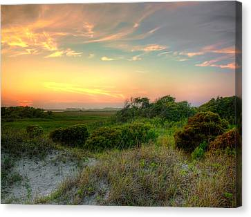 Sand Dunes And Beach Grass  Canvas Print by Jenny Ellen Photography
