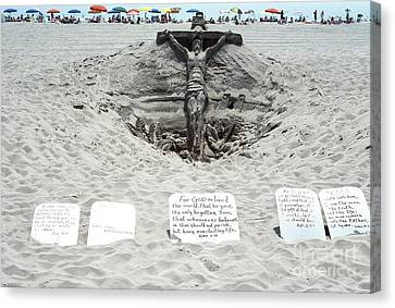 Sand Sculpture Christ On The Cross Canvas Print