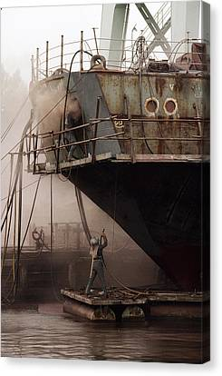 Sandblasters Restore A Soviet Ship Canvas Print by Cotton Coulson